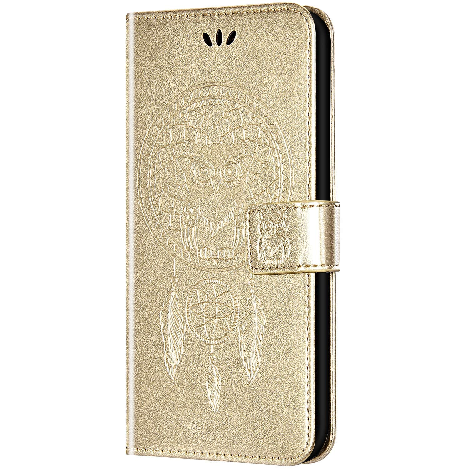 Case for Galaxy S6 Edge Flip Case Ultra Slim PU Leather Wallet with Card Holder/Slot and Magnetic Closure Shockproof Cartoon Animal Owl Embossed Protective Cover for Galaxy S6 Edge,Gold by ikasus