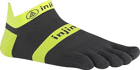 Injinji - Calcetines de running ligeros y ultracortos con dedos, Neon Yellow/Slate,