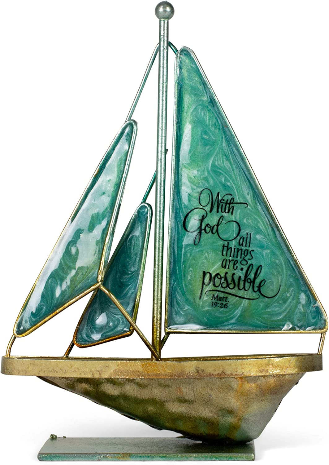 Dicksons with God All Things Possible Matthew 19:26 6 x 5 Metal Table Top Sailboat Figurine Decoration