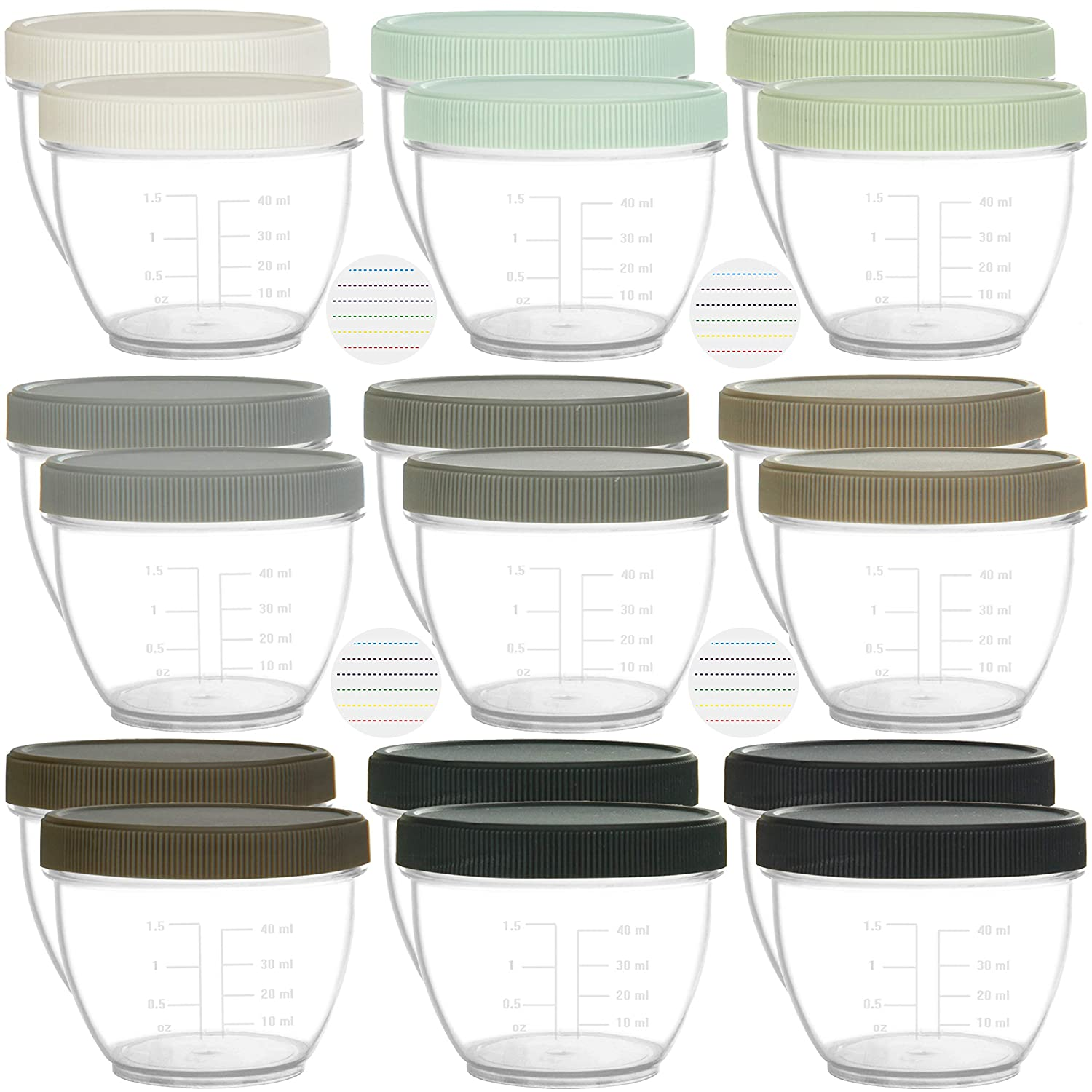 Youngever 18 Sets Baby Food Storage, 2 Ounce Baby Food Containers with Lids and Labels, 9 Urban Colors