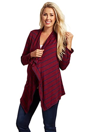 73ed0f1f46 Image Unavailable. Image not available for. Color  PinkBlush Maternity  Burgudy Striped Elbow Patch Cardigan ...