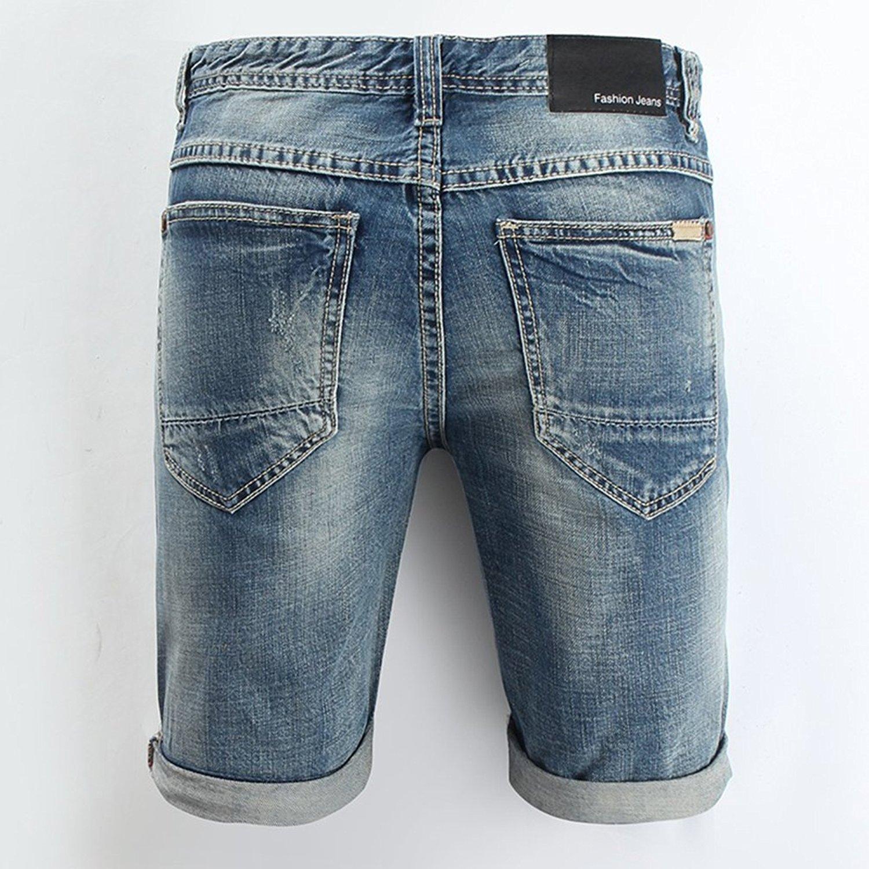Minetom Elasticizzati da Uomo Estivo Sciolto Gamba a Tubo Denim Jeans Spiaggia Pantaloni Corti Bermuda Pantaloncini