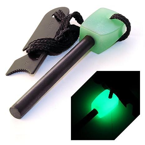 Ganzoo - Pedernal de magnesio con Cabezal Fluorescente, 76 mm de Longitud