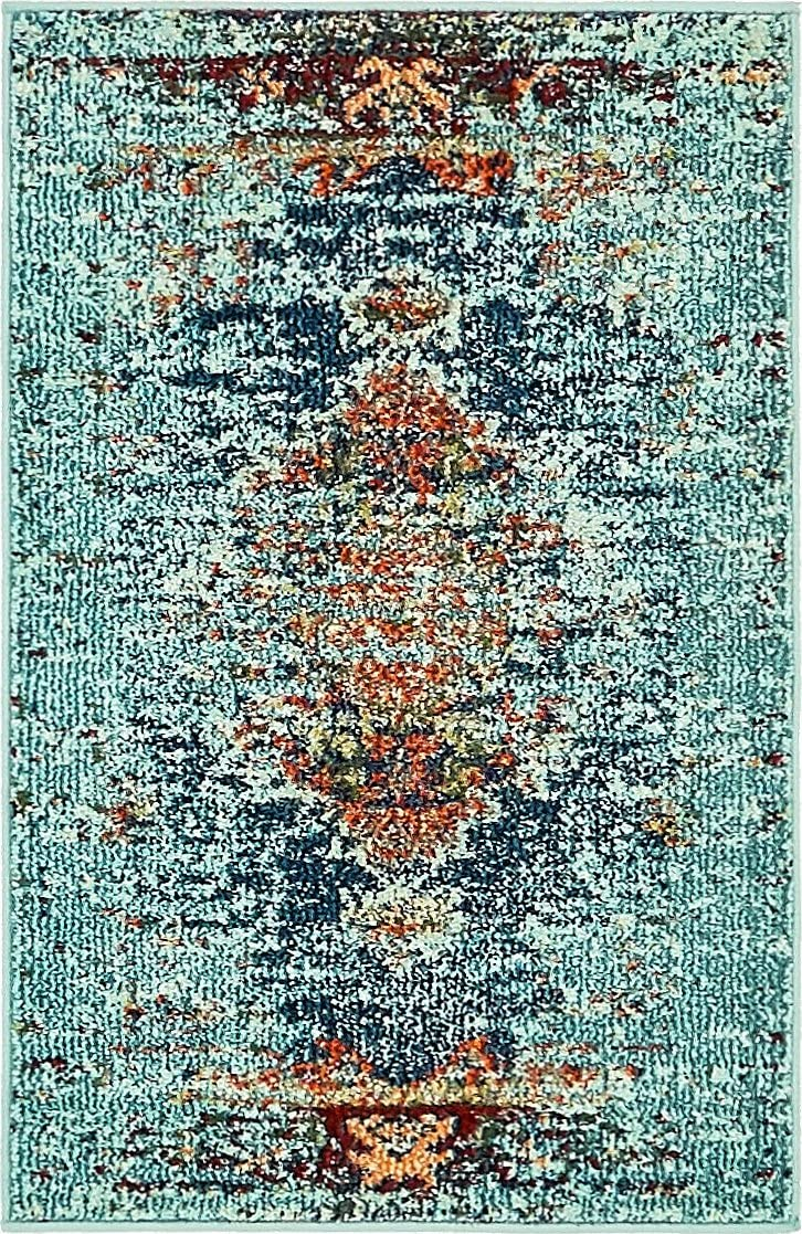 Unique Loom Vita Collection Traditional Over-Dyed Vintage Turquoise Area Rug 2 2 x 3 0