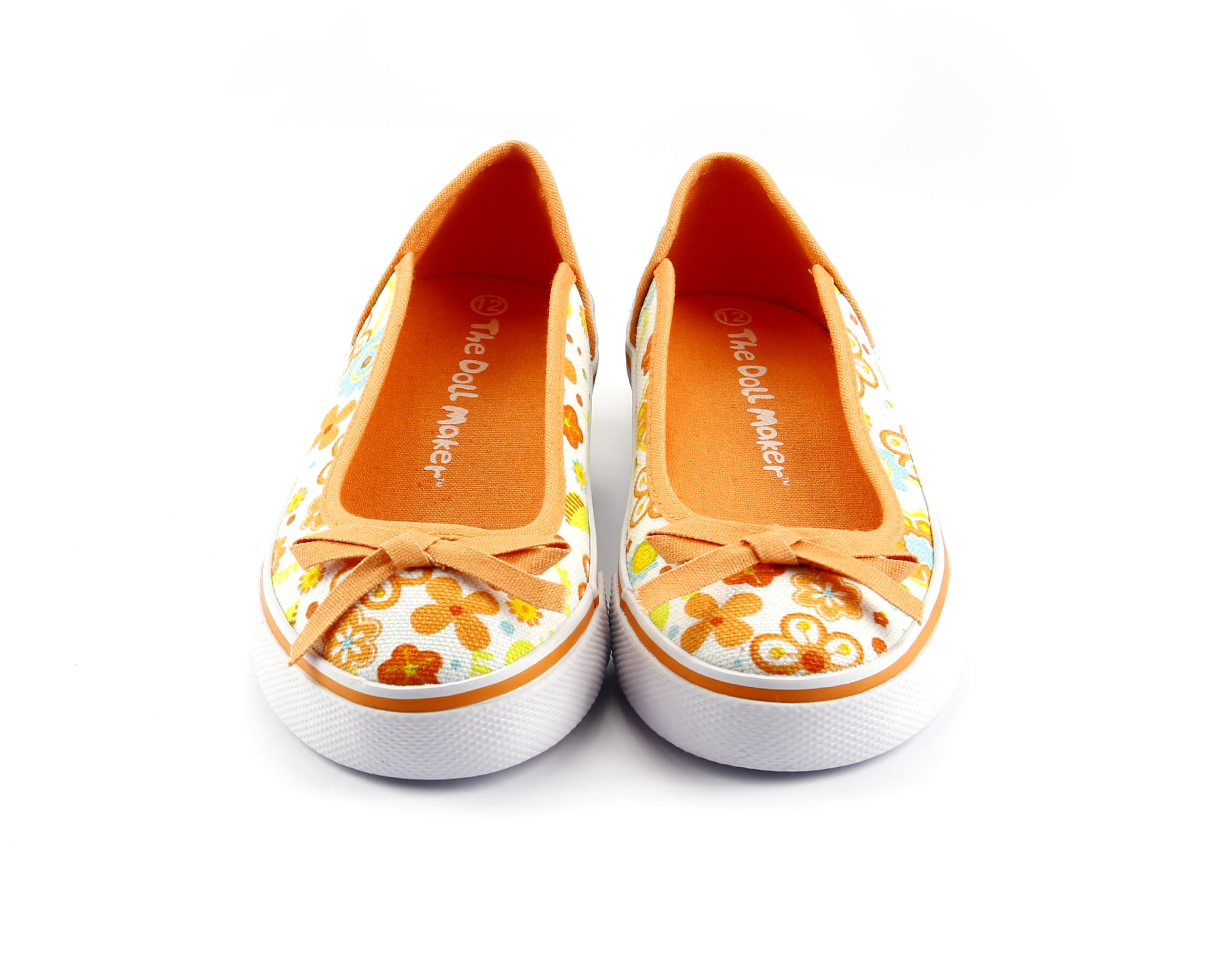 Girls Floral Print Sneaker Orange Spring Summer Back To School Shoes Size 2 #1332138