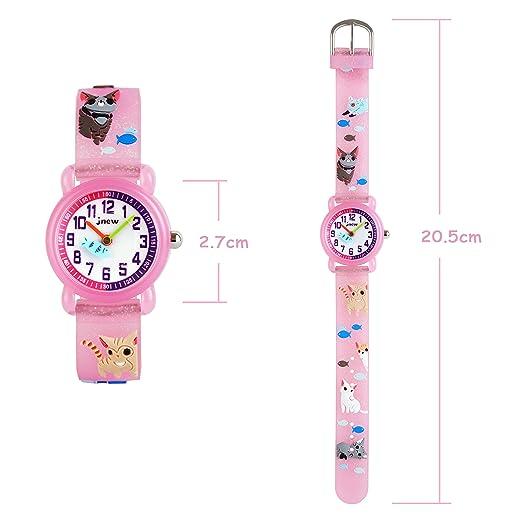 WOLFTEETH Little Niña Reloj analógico Resistente al Agua Día Escolar Christmmas Gift Reloj Deportivo Unique Transparency Reloj Rosa Gatita 308401: ...