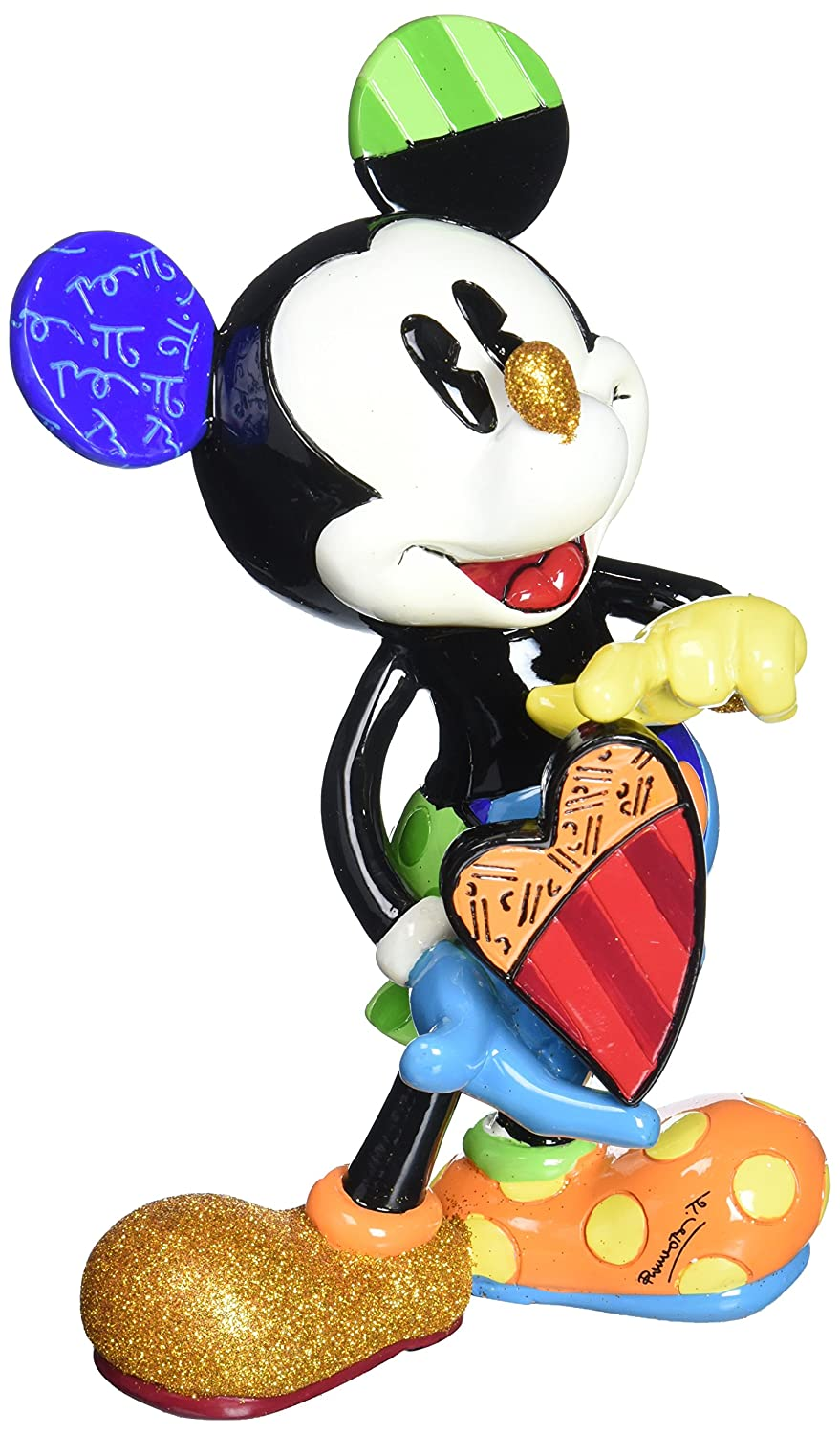 ENESCO 4052551 Disney Britto Collection Mickey with Rotating Heart, Stein, bunt, 13 x 11 x 22 cm