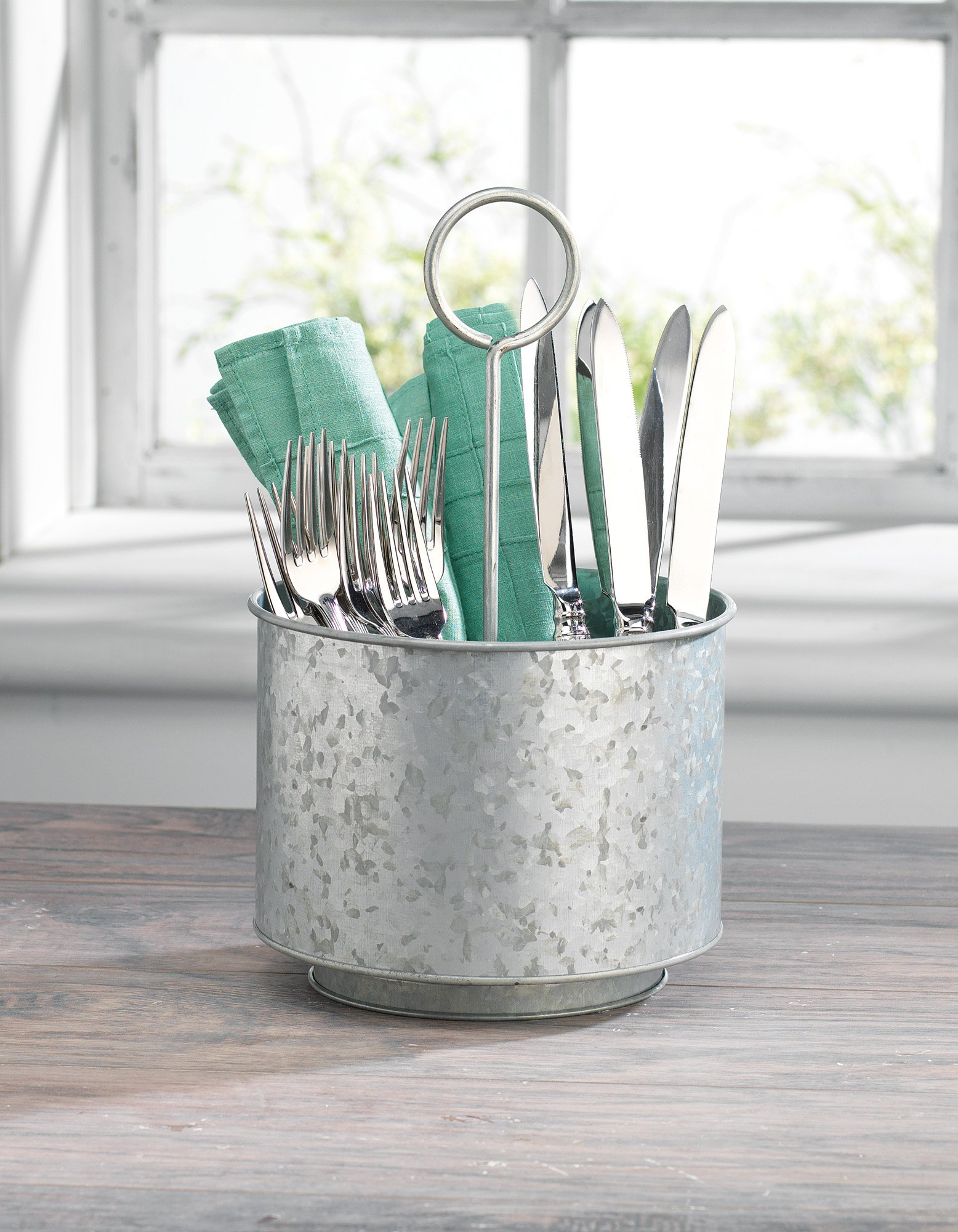 KOVOT Galvanized Rotating Utensil Caddy & Organizer | Rustic & Country Style Decor | Measures 7.5'' x 7.5'' x 12.5''H by Kovot (Image #2)