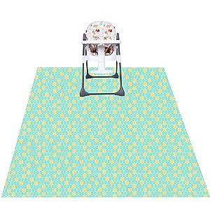 Youngever 53 inch x 53 inch Splat Mat for Under High Chair, Washable Highchair Splat Floor Mat, Splash Mess Mat, Food Catcher Art Craft Leak Proof Mat (Green Hexagon)