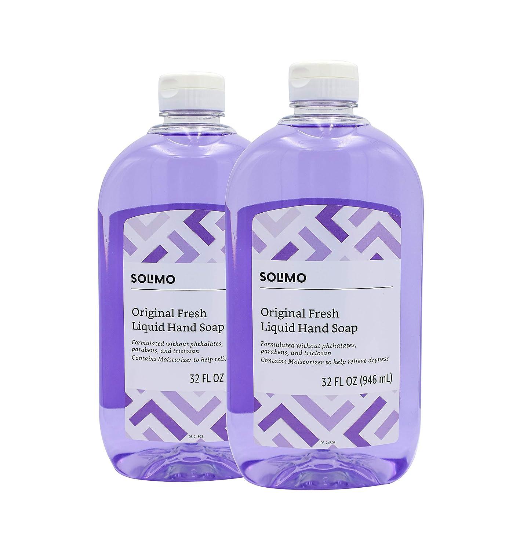 Amazon Brand - Solimo Original Fresh Liquid Hand Soap, 32 Fluid Ounce (Pack of 2)