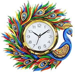 CraftJunction Wooden HandPainted Peacock design Wall Clock(13*13 Inches)