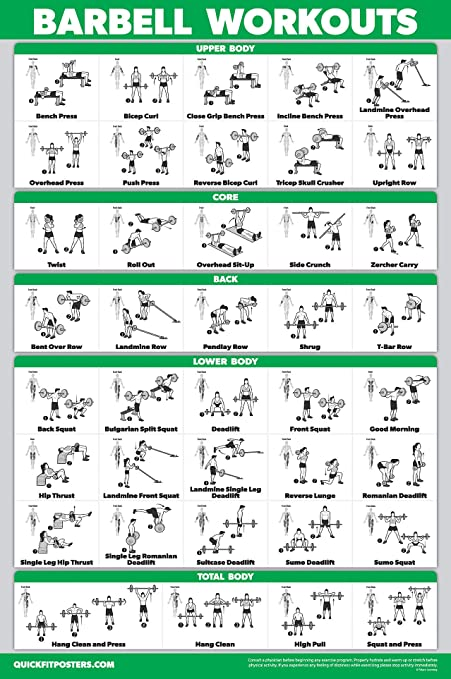 Amazon Com Quickfit Barbell Workout Exercise Poster Laminated 18 X 27 Sports Outdoors