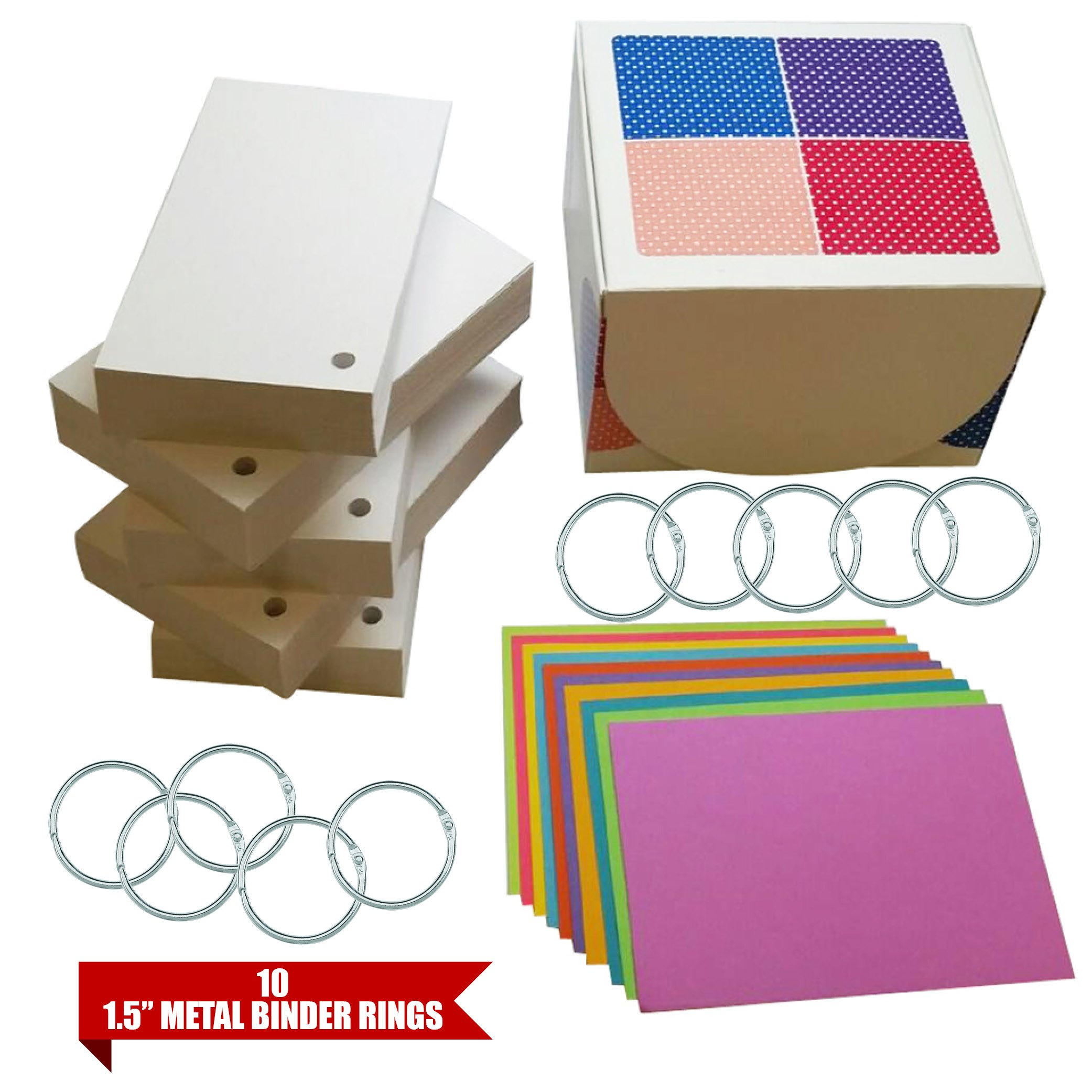 Debra Dale Designs - 110# Standard White Blank Index Cards 3x5 Box - Hole Punched Index Cards - 10 Index Card Divider Sheets - 10 Metal Rings for Index Cards - Complete Study Materials Learning System