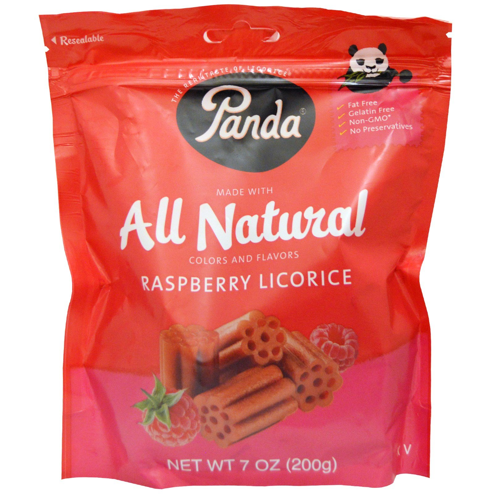 Panda Licorice, All Natural Raspberry Licorice, 7 oz (200 g) -- 2PC