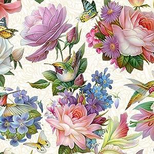 Hummingbird Bouquet - Elizabeth's Studio 100% Cotton Fabric