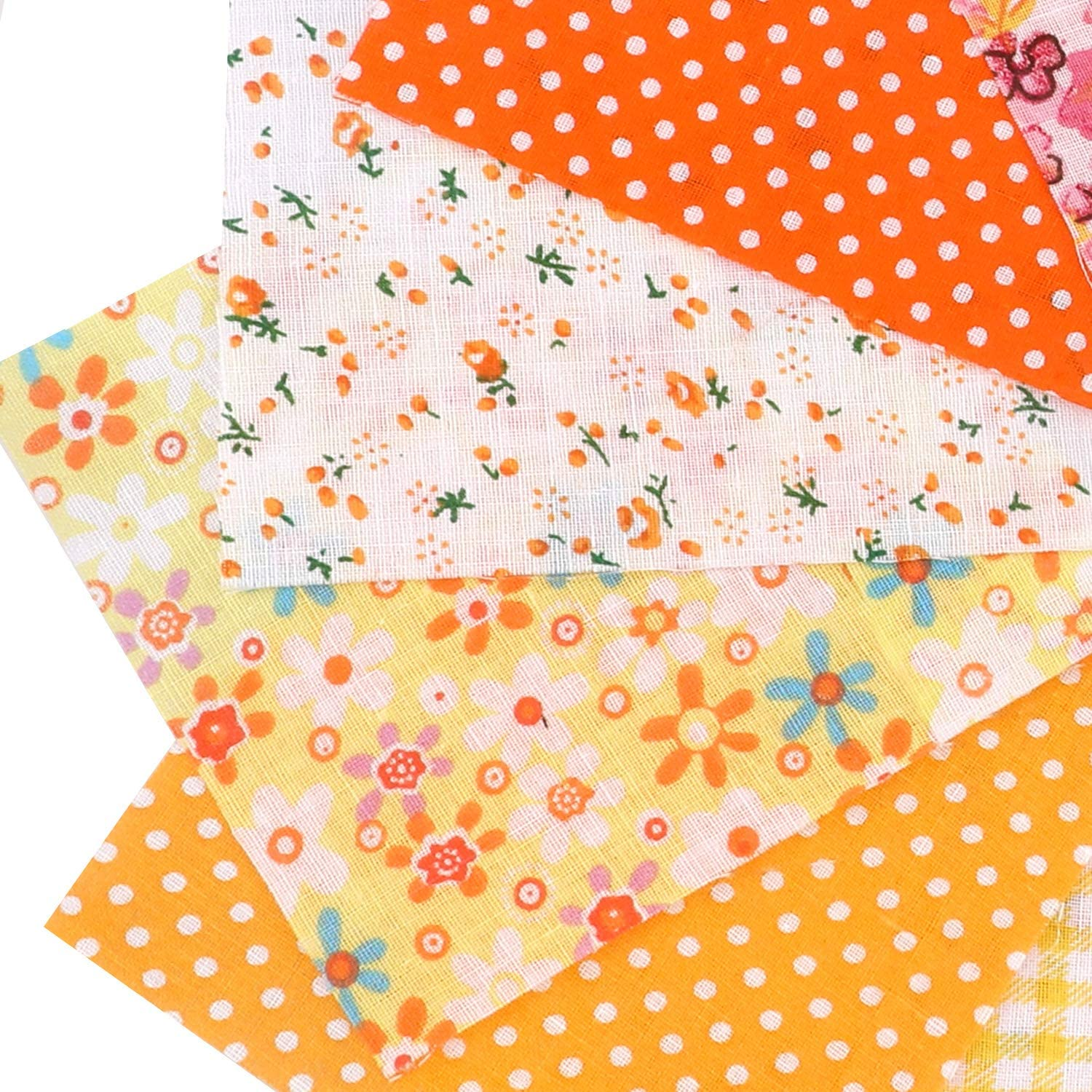 Qpout 100 Pieces Floral Printed Craft Fabric Bundle Patchwork Squares Quilting Sewing Patchwork Craft Sewing