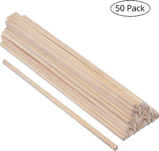 Palitos de Madera (50 Piezas) - Natural Cuadrados Palitos (30 cm ...