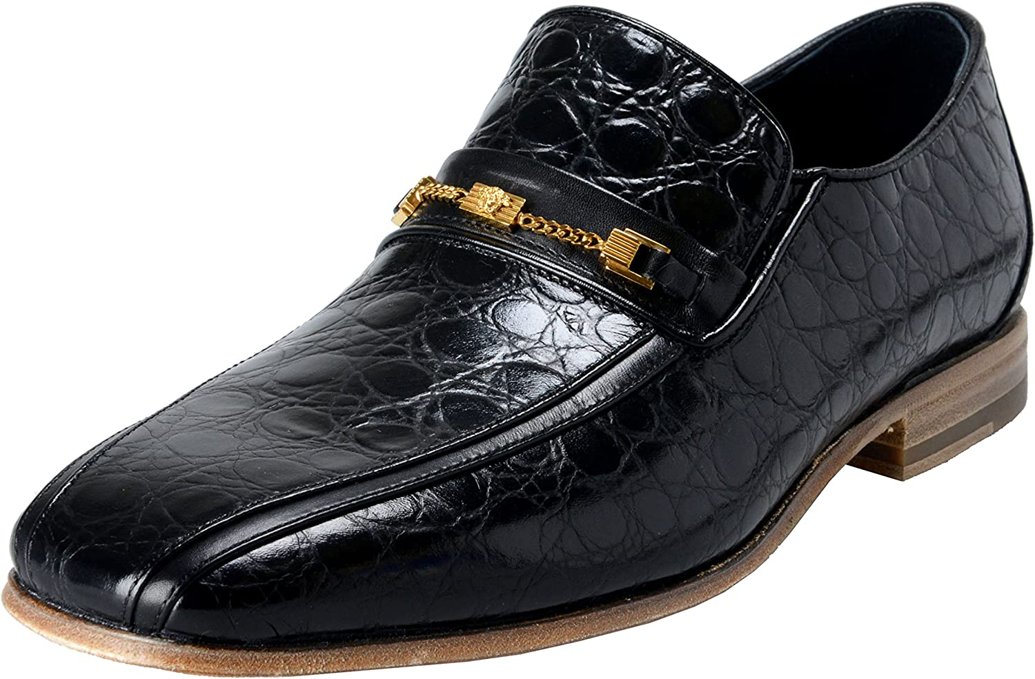 Black Croc Print Leather Loafers Shoes