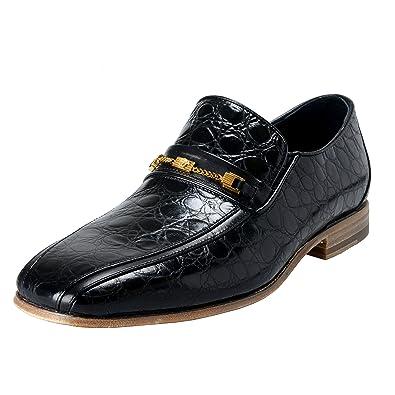 7cdaa7c1f Amazon.com: Versace Men's Black Croc Print Leather Loafers Shoes US ...