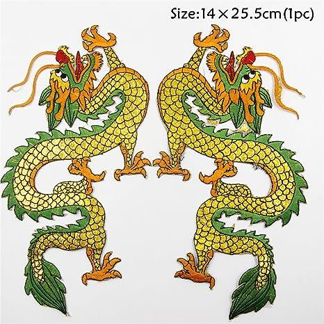 Nuevo Parche de oro dragón chino Dragón parche hierro bordado de ...