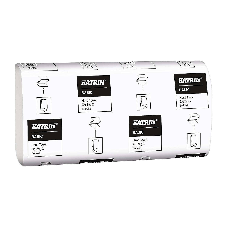 Katrin 76957/b/ásica calidad intercalada Zig Zag toallas de mano 2/capas blanca Natural Pack de 3150 Smart embalaje