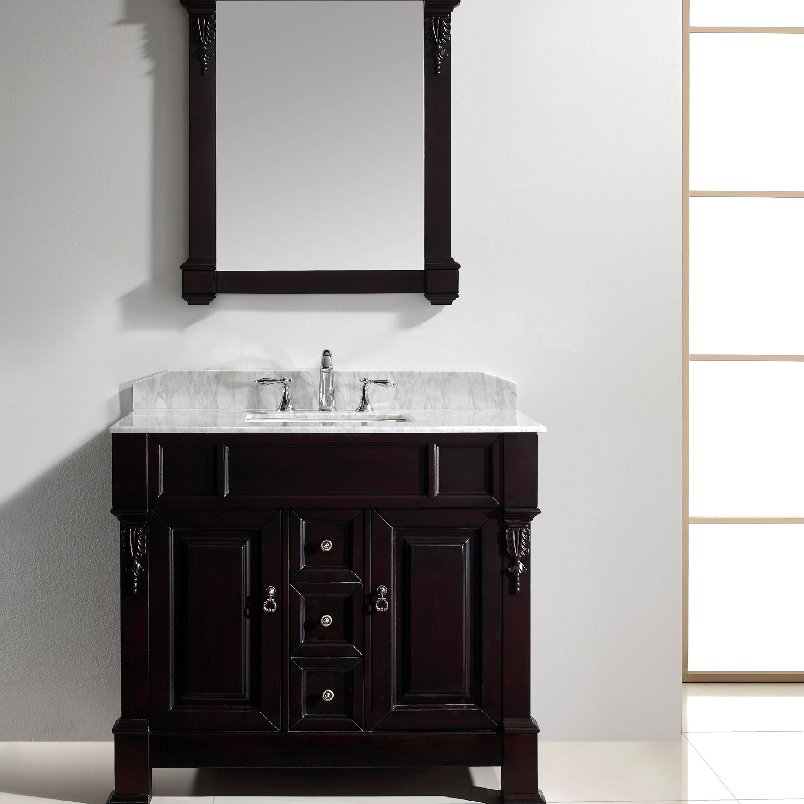 Virtu USA GS-4040-WMSQ-DW-001 Huntshire 40'' single Bathroom Vanity with Marble Top and Square Sink with Brushed Nickel Faucet and Mirror, Dark Walnut