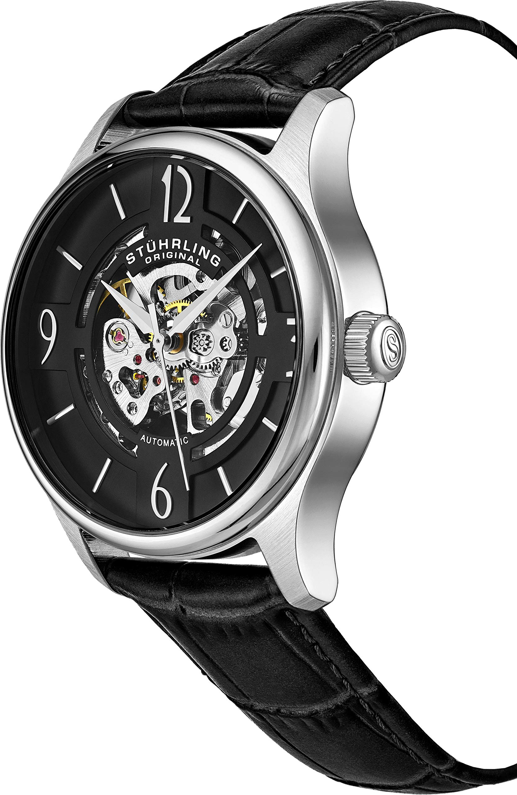 Stuhrling Original Mens''Specialty Atrium'' Skeleton Automatic Self Winding Dress Watch with Premium Leather Band by Stuhrling Original (Image #5)