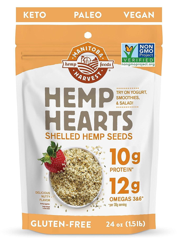 Manitoba Harvest Hemp Hearts Shelled Hemp Seeds, 24oz; 10g Plant-Based Protein & 12g Omegas per Serving, Whole 30 Approved, Vegan, Keto, Paleo, Non-GMO, Gluten Free