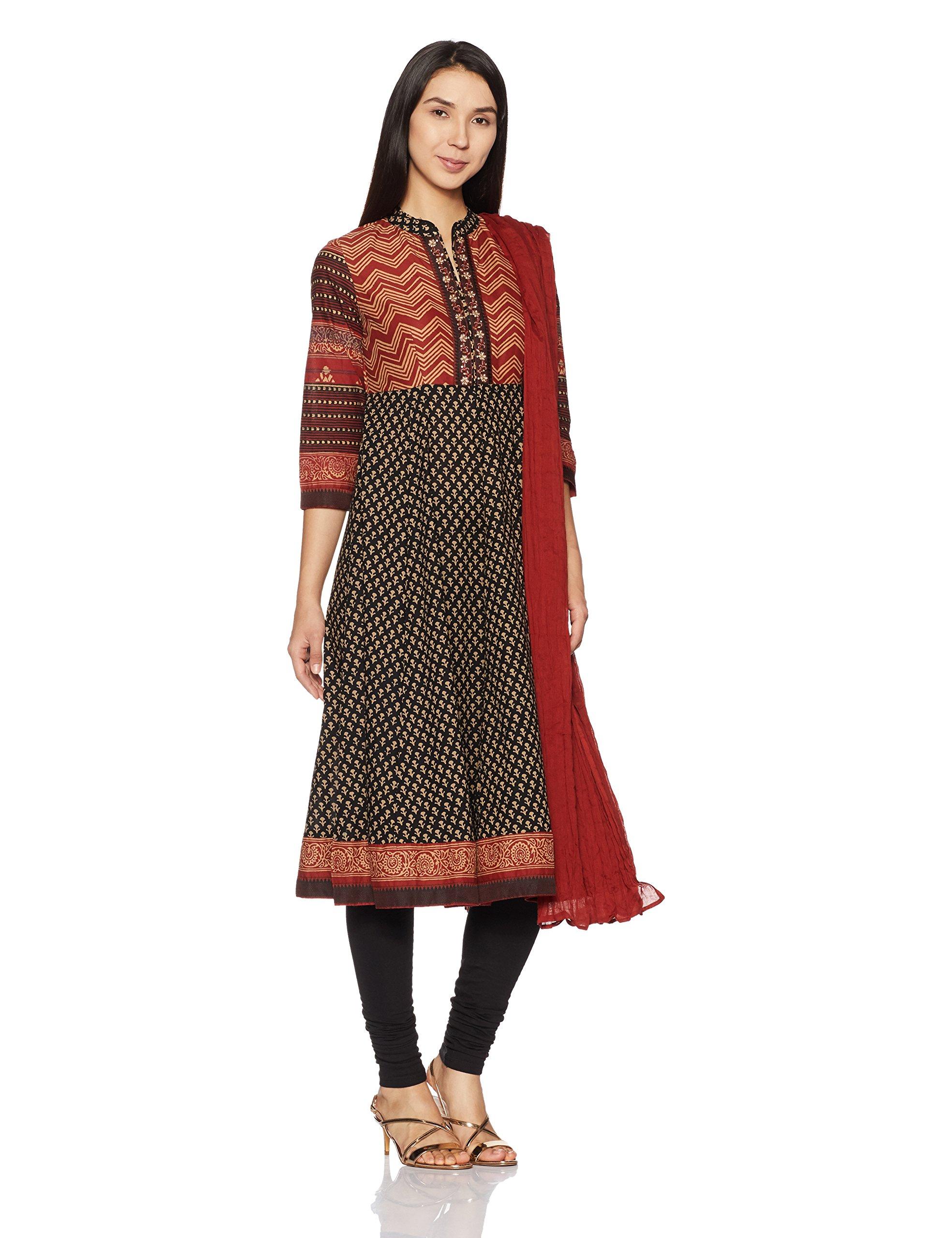 BIBA Women's Anarkali Cotton Suit Set 36 Red & Black