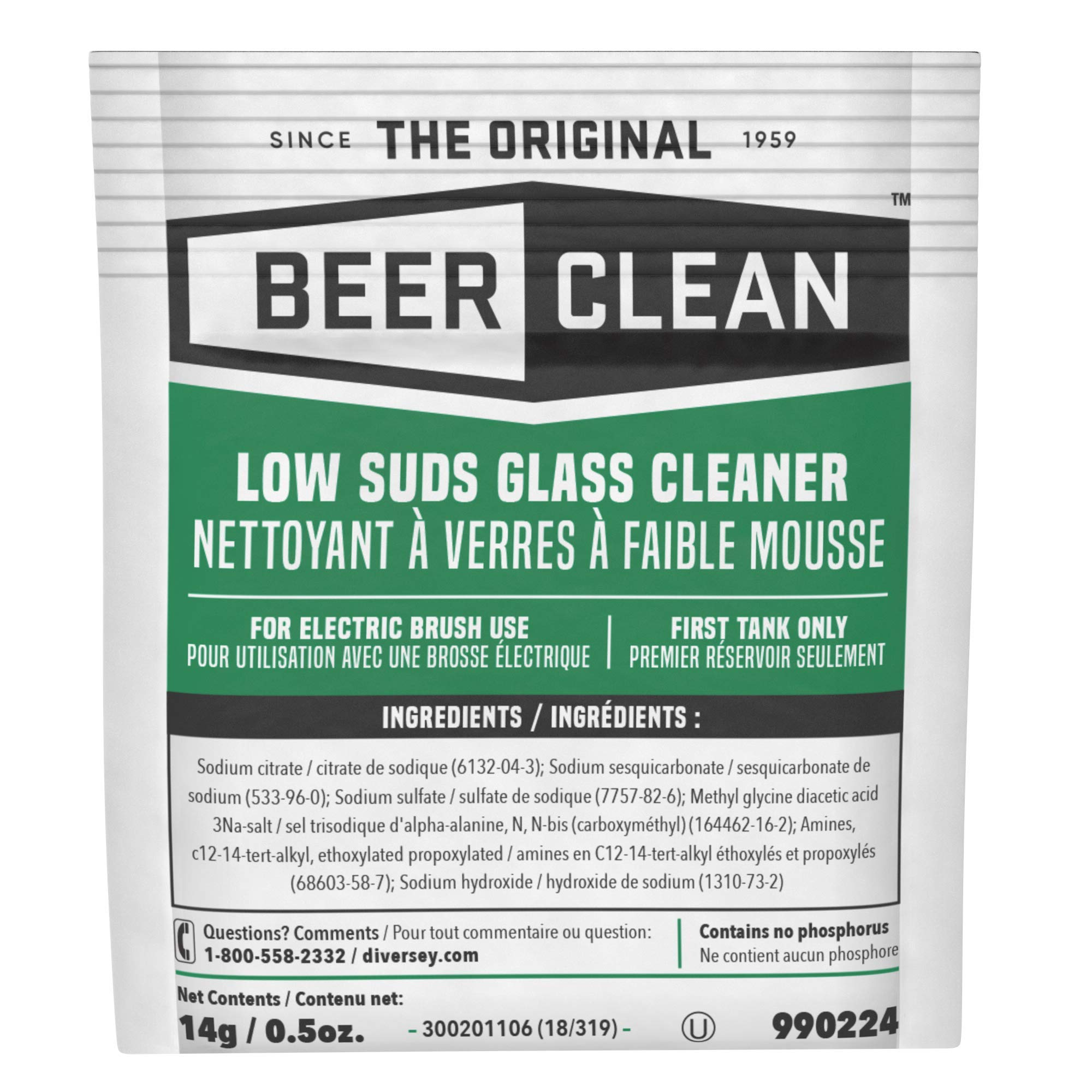 Diversey Beer Clean Low Suds Glass Cleaner (0.5-Ounce, 100-Pack)
