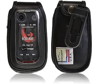 product image for Turtleback Black Leather Case for Motorola Barrage V860 Flip Phone Extended Battery with Ratcheting Belt Clip - Made in USA