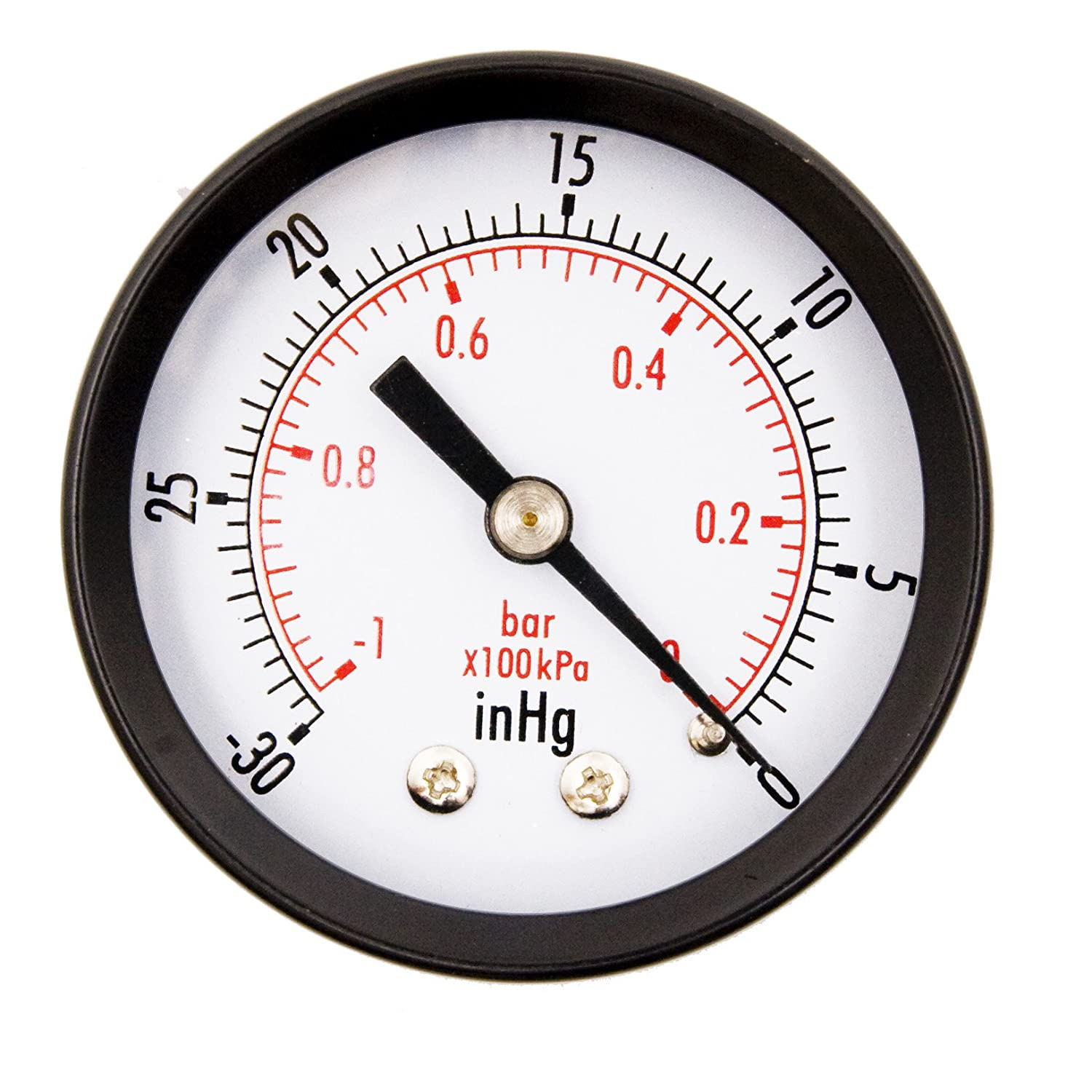 2 Dial Utility Vacuum Pressure Gauge for Air Compressor Water Oil Gas 1 4 NPT Center Back Mount Black Steel Case 30HG 0PSI