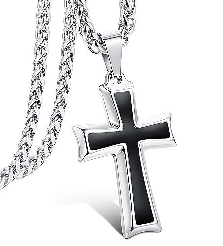 35533c47c063 LOLIAS Collar Cruz para Hombres Mujeres Colgante Cruz Collar Cadena  Religiosa Joyería de Moda