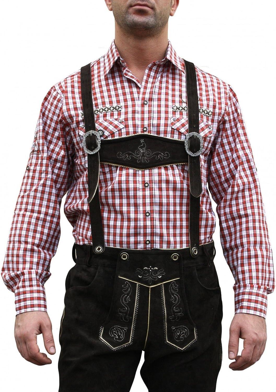 Trachtenhemd für Lederhosen mit Verzierung rot/kariert