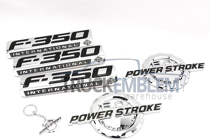 5 NEW CUSTOM BLACK F250 6.0L POWERSTROKE SUPERDUTY FENDER BADGES TAILGATE KIT