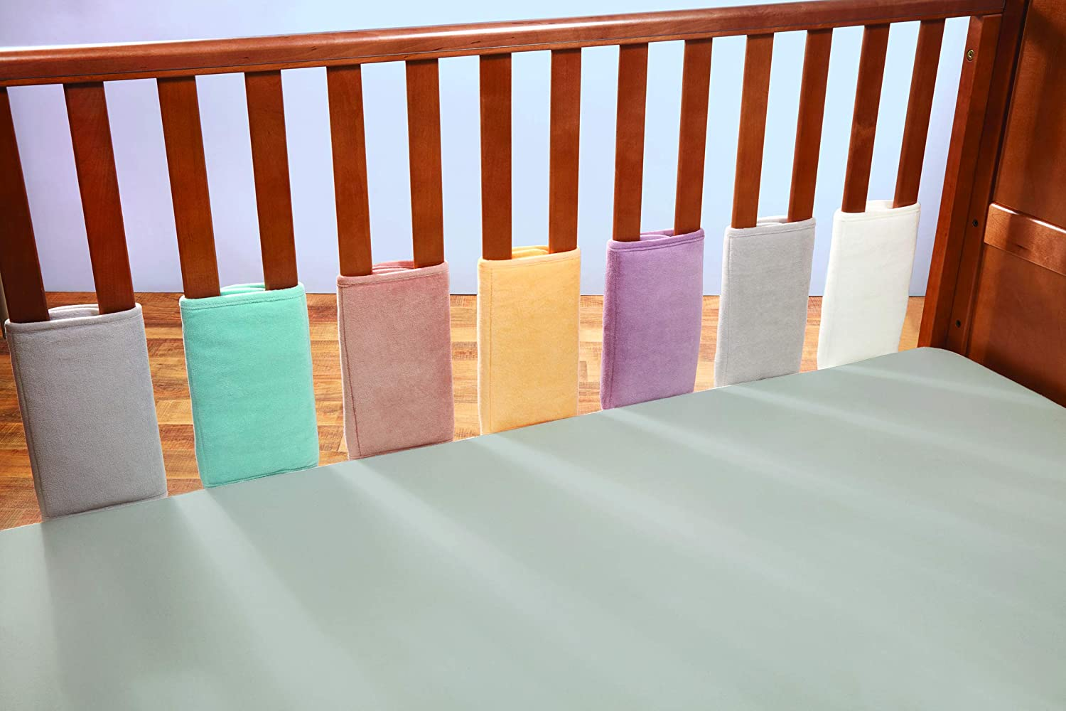 Bizzi Growin Stunning Mineral Velour Cot /& Cot Bed Bumper Bar Covers Wrap Pack of 8