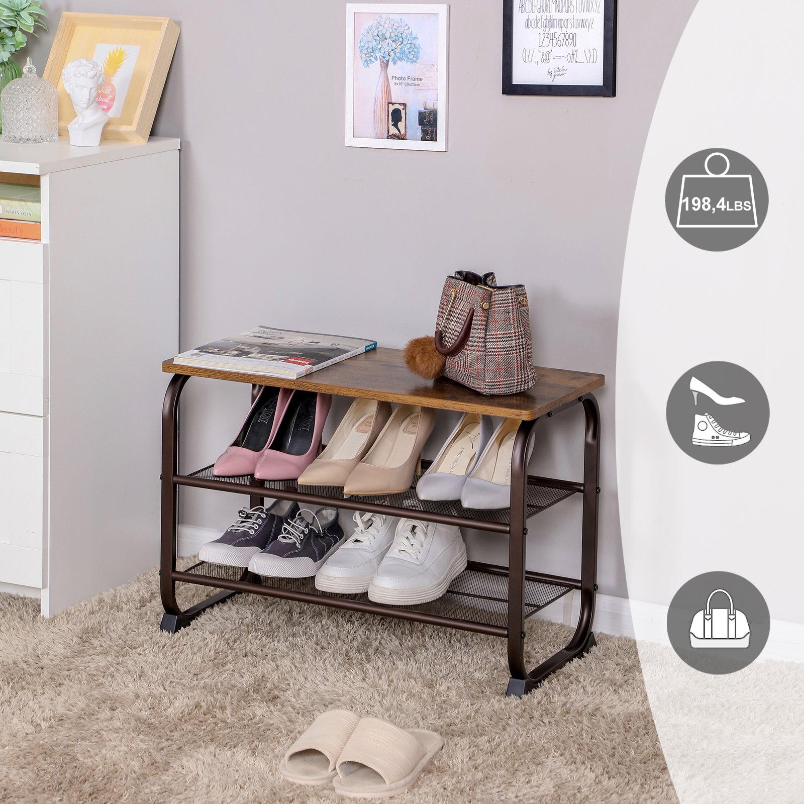 SONGMICS Vintage Shoe Bench Rack, 3-Tier Shoe Storage Shelf for