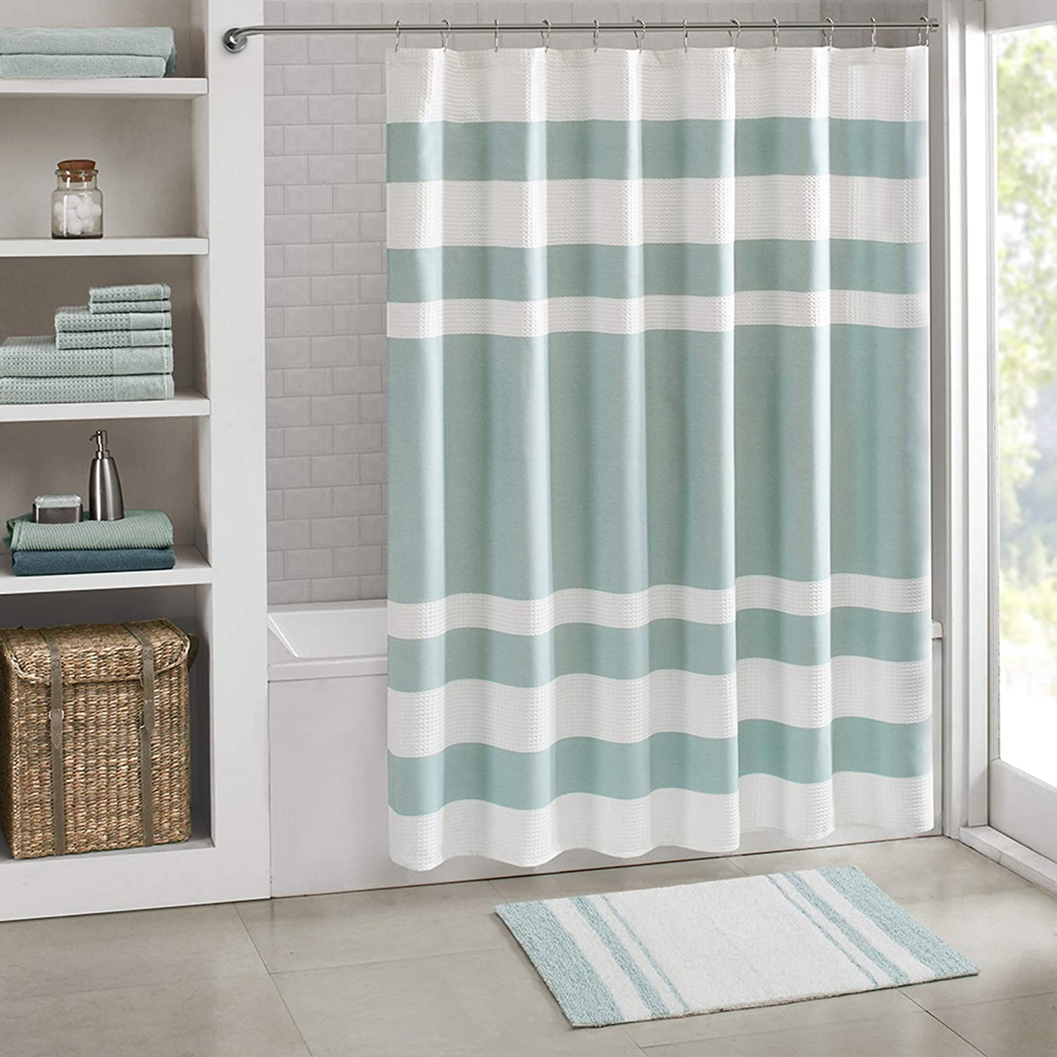 Madison Park Reversible Spa Rug 100%-Cotton Striped Ultra Soft Water Fast Bath Non-Slip Absorbent Quick Dry Mats for Tub, Shower Room, and Bathroom, 20x30, Aqua
