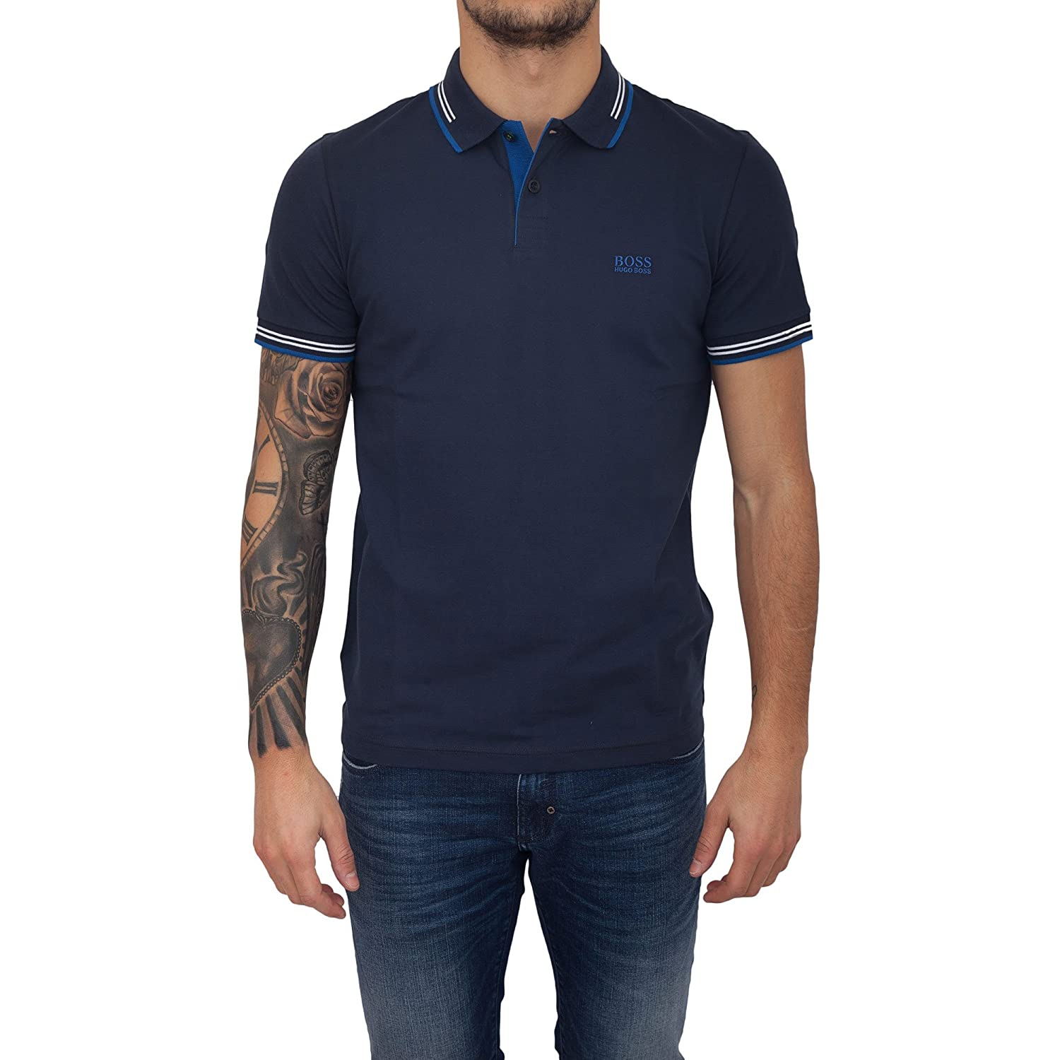 1a39eb536 BOSS Green Paul Slim Fit Stretch Polo Navy 409 50332503: Amazon.co.uk:  Clothing
