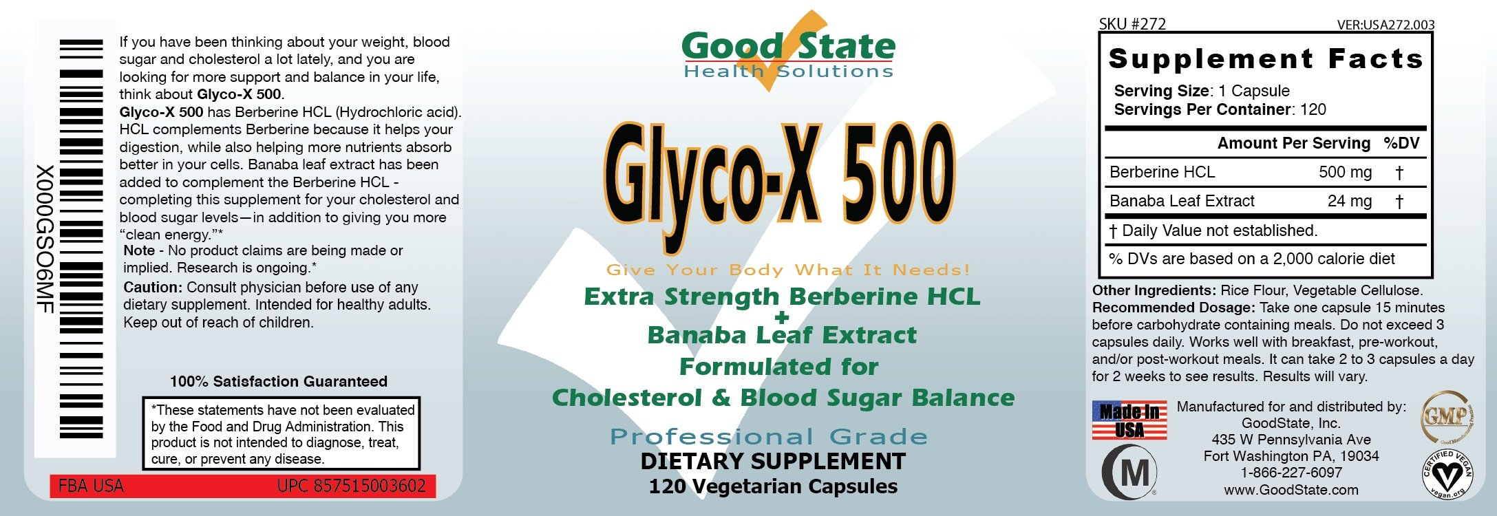 Good State Glyco-X with Berberine HCL - 120 Caps by Good State