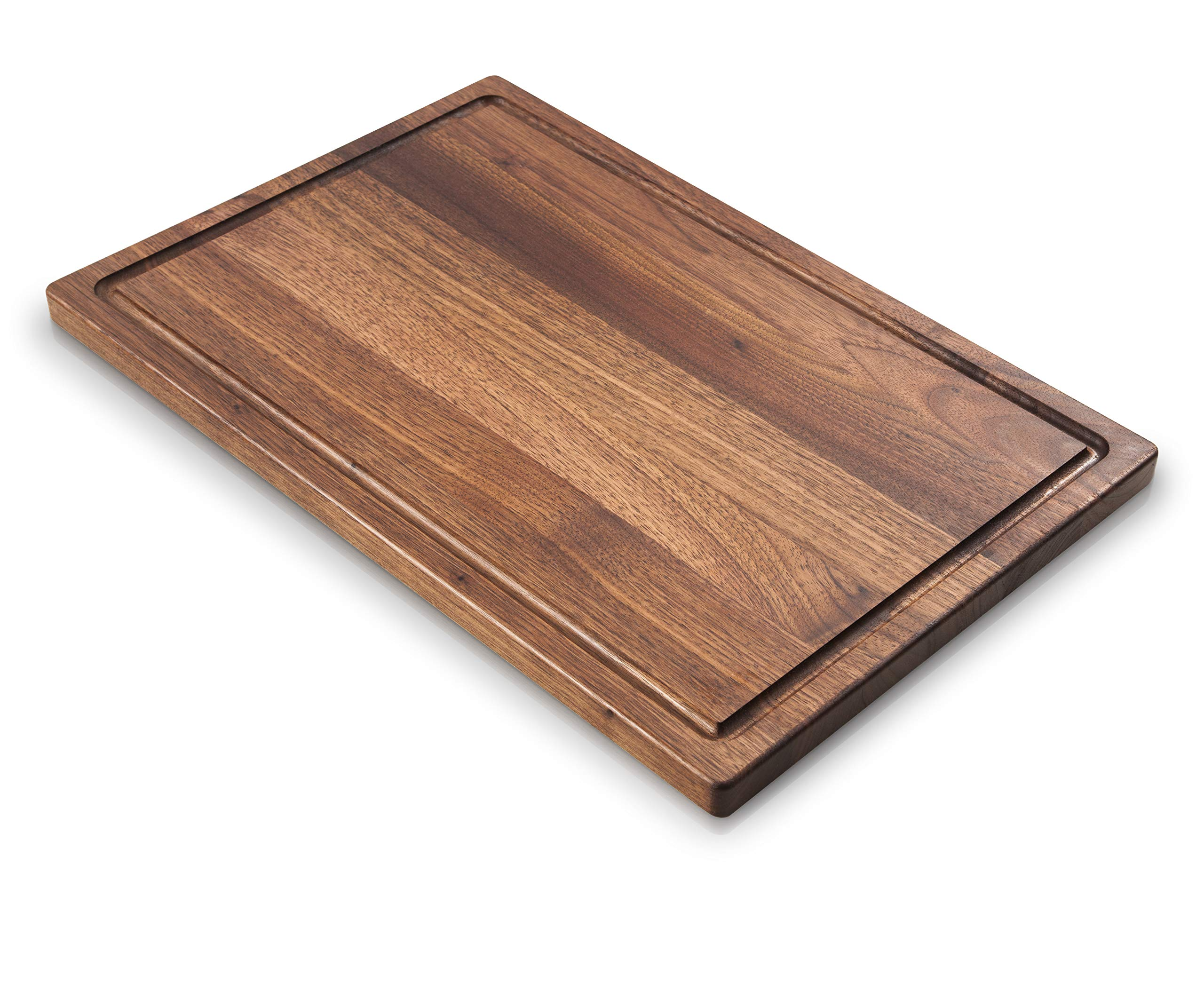 Boilton Large Walnut Wood Cutting Board - 17x11 with Juice Drip Groove, Big American Hardwood Chopping and Carving Countertop Block