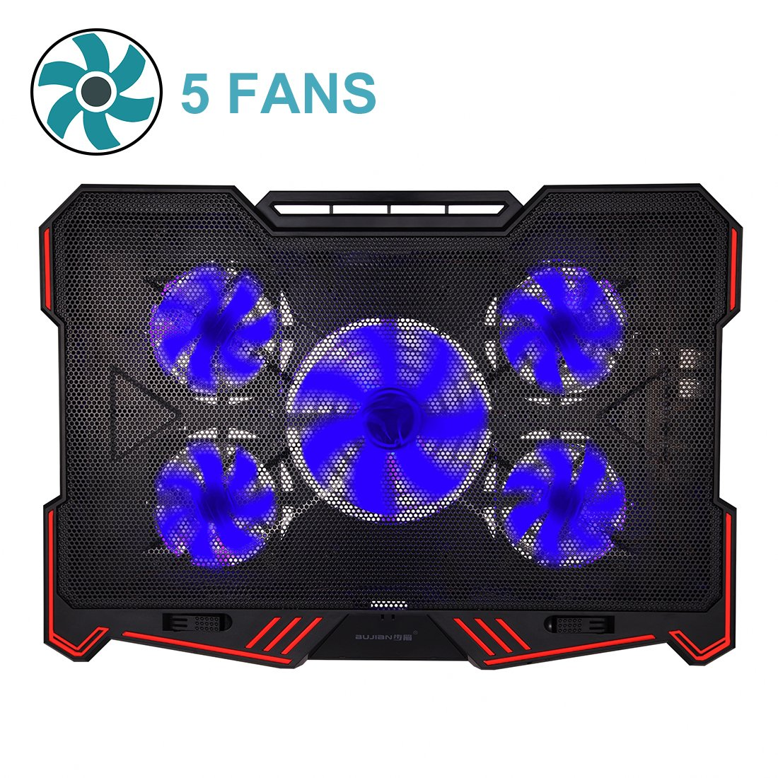 Laptop Cooling Pad BUJIAN 5 Ultra Quiet Fans and Red Led Lights with 13 Wind Speed (2600-5000RPM) and Ultra-Slim and Skid Proof Design for 12-15.6 Inch Laptop (S-X5) by BUJIAN (Image #1)