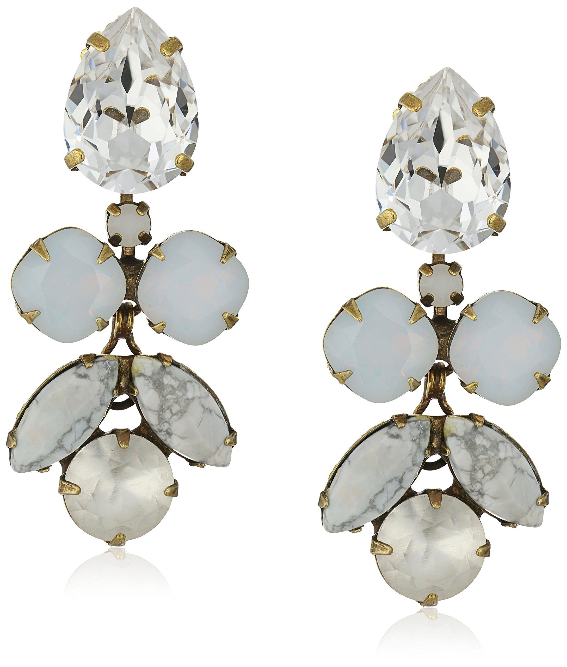 Sorrelli ''Pearl Luster'' Crystal Lotus Flower Drop Earrings by Sorrelli
