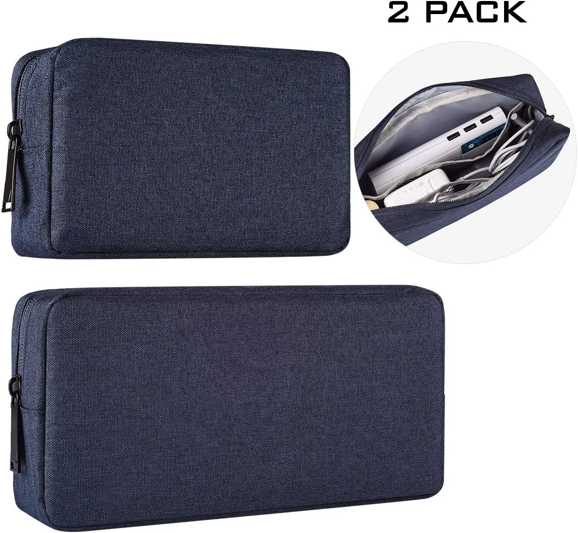 2-Pack Portable Storage Pouch Bag, Universal Electronics Accessories Case Cable Organizer Compatible with Hard Drive, Laptop Mouse, Power Bank, Adapter, Cellphone, Cosmetics (Small+Big-Navy Blue)