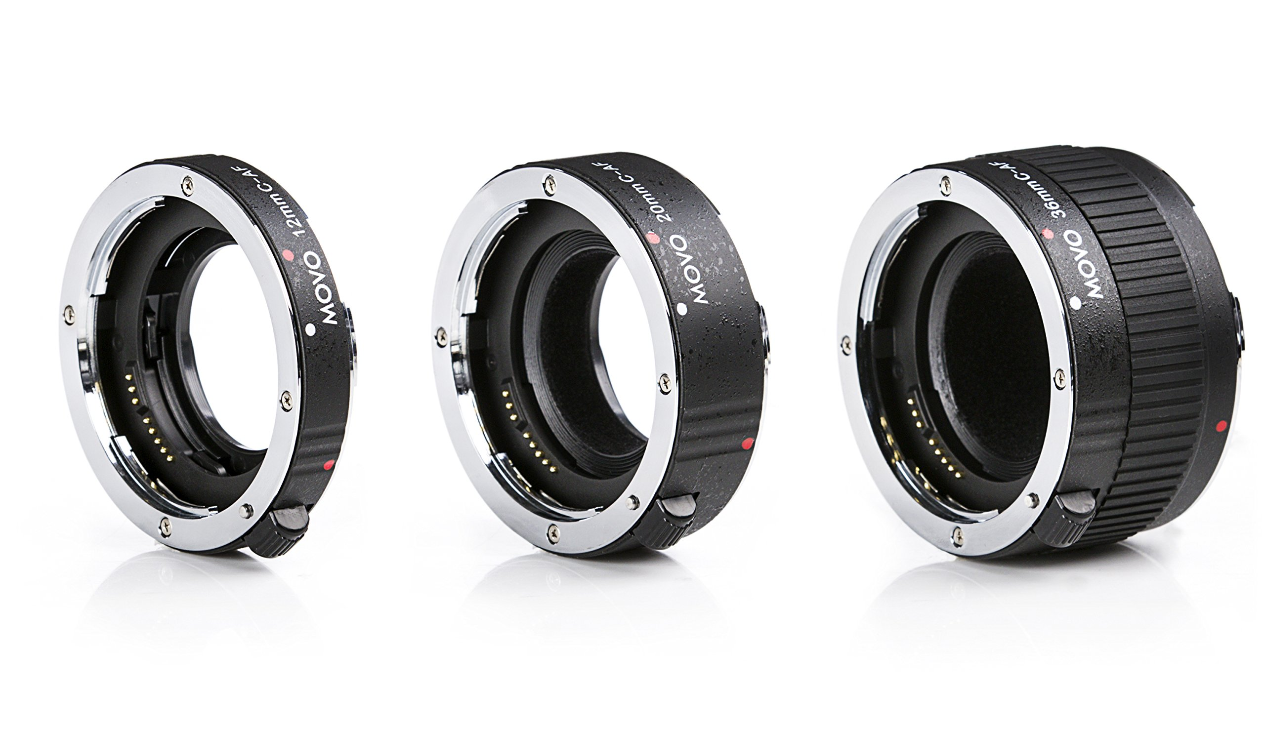 MOVO PRO CHROME 3-Piece AF Macro Extension Tube Set for Canon EOS DSLR Camera 12mm, 20mm, 36mm, Maintains Full Auto Focus Metering and Electronic Pass Thru Contact Easy On Off Auto Focus Lens Extender by Movo
