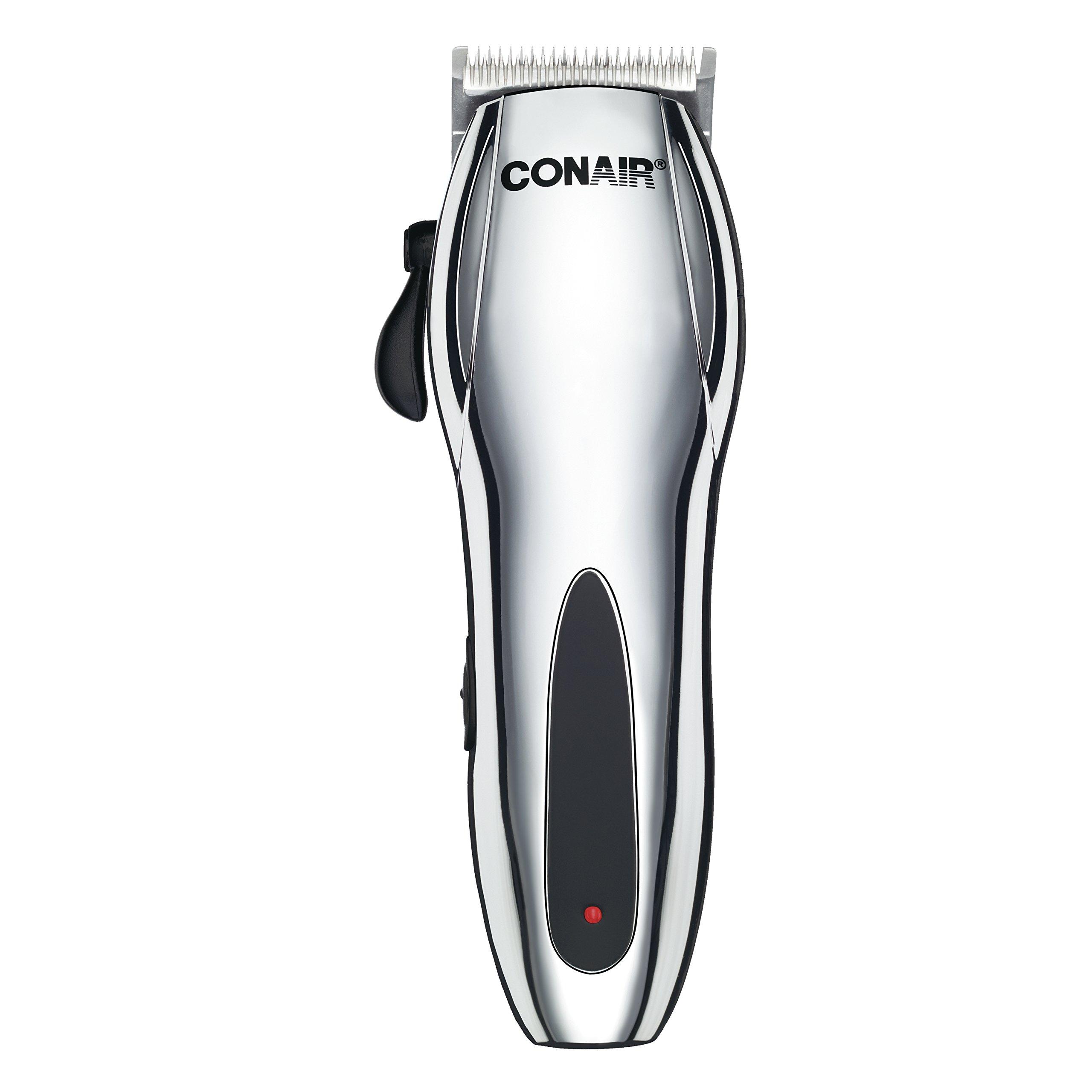 Conair Cord/Cordless Rechargeable 22-piece Haircut Kit; Home Hair Cutting Kit; Chrome