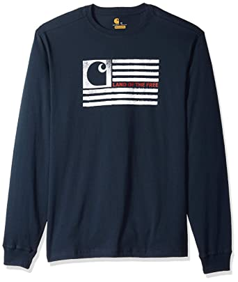 b284a7dd6 Carhartt Men's Lubbock Logo Flag Graphic Long Sleeve T Shirt, Navy, Small