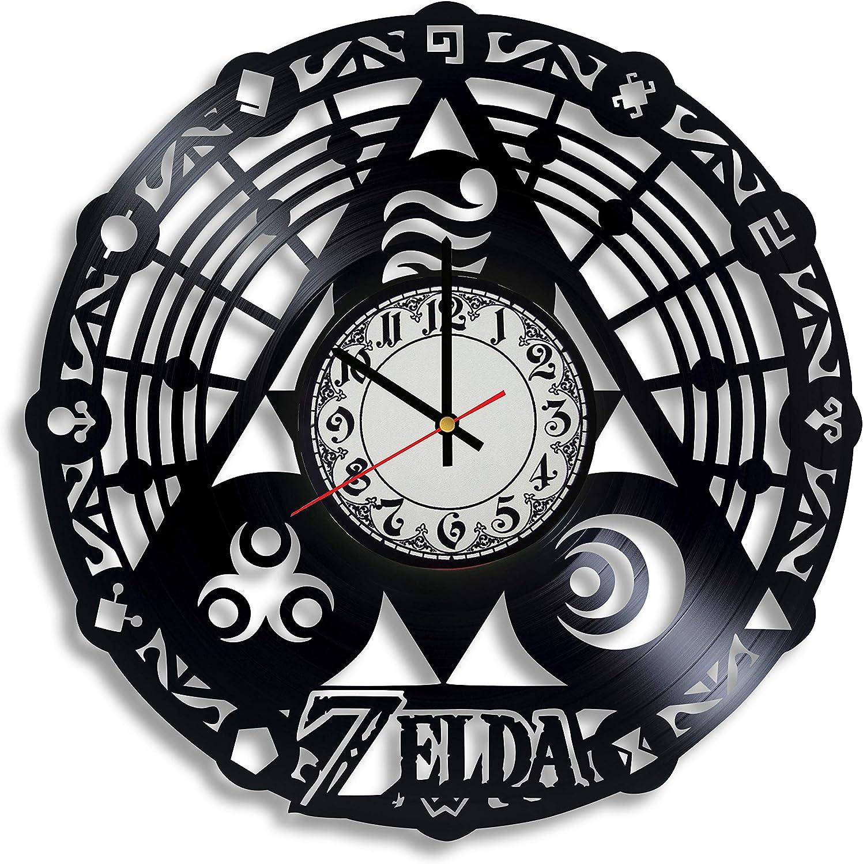 Lepri4ok Zelda Christmas Ornament Hylian Shield Cosplay Vinyl Wall Clock - Spiritual Stones Zelda, Zelda Ocarina of time Decor NES Triforce