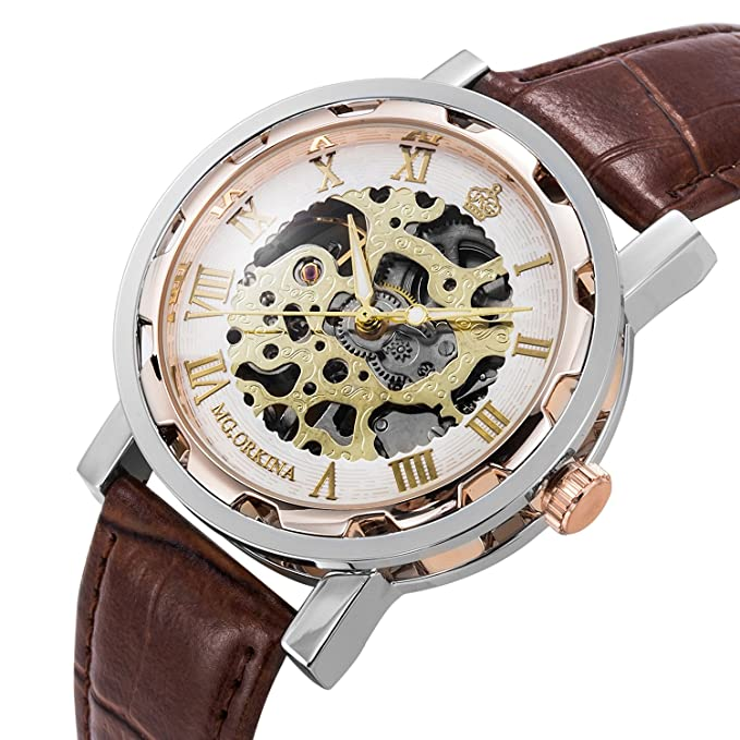 Review GuTe Steampunk Bling Skeleton Mechanical Hand-wind Wristwatch Silver Rose-gold Case