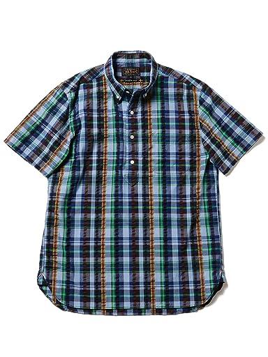 Short Sleeve Coolmax Seersucker Plaid Buttondown Shirt 11-01-0875-139: Saxe / Navy